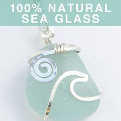 Silver wave - I think this may be the prettiest seaglass pendant I've ever seen Wire Pendant, Wire Wrapped Pendant, Wire Wrapped Jewelry, Wire Jewelry, Diy Necklace, Necklaces, Sea Glass Crafts, Bijoux Diy, Beads And Wire