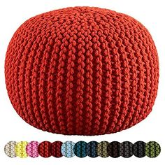 LARGE 60CM KNITTED POD POUFFE FOOT STOOL OTTOMAN CONTEMPORARY CUSHION FREE 24HR DELIVERY! (Chilli)