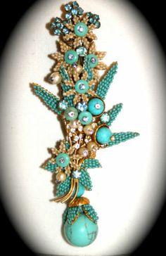 """STANLEY HAGLER N.Y.C. HUGE(5.75"""") flowers pin glass seed bead, crystals & stones"""