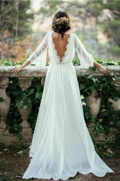 Flowey Backless Ivory Chiffon Lace Long Wedding Dresses With Sleeves Z0158