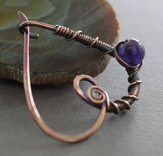 Shawl pin scarf pin in heart shape with copper and by IngoDesign