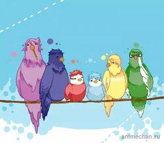 Баскетбол Куроко в виде птичек