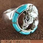 Southwest Jewelry Sterling Silver Turquoise Horse Head Ring