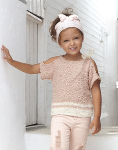 Book Kids 81 Spring / Summer   17: Kids Sweater   Salmonrange / White Baby Knitting, Crochet Baby, Knit Crochet, Pull Orange, Summer Kids, Spring Summer, Laine Katia, Aqua Rose, Fashion Kids