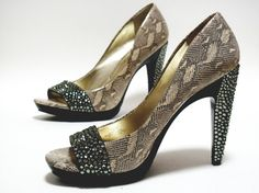 Swarovski Crystal Embellished Black and Snakeskin High Heels
