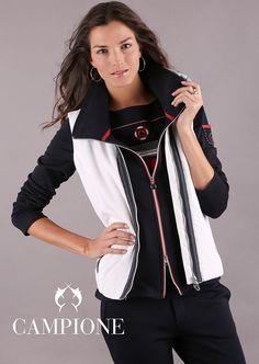 Maritime Mode und maritime Bekleidung von CAMPIONE liegt voll im Trend. Damen Sweatshirts, Trends, Electric Blue, Bomber Jacket, My Style, Jackets, Fashion, Sporty Fashion, Fashion Women