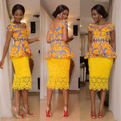 Beautiful Ankara Style Top and Lace Styles .Beautiful Ankara Style Top and Lace Styles African American Fashion, African Print Fashion, Africa Fashion, Men's Fashion, Fashion Clothes, Fashion Rings, Latest Fashion, Fashion Ideas, Fashion Outfits