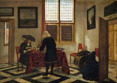 dutch-and-flemish-painters:  Pieter Janssens Elinga - Interior Scene -  Oil on canvas, Height: 415 mm (16.34 in). Width: 580 mm (22.83 in). ...