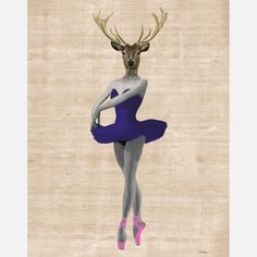 LoopyLolly: Ballet Deer In Blue Print