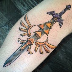 Legend of Zelda tattoo by @blackoutbob #zelda #zeldatattoo #nintendo #thelegendofzelda #videogametattoo  Thanks again Bob! =)