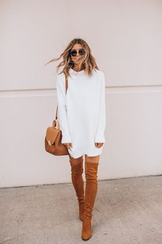 sweater dresses for fall Winter Boots Outfits, Trendy Fall Outfits, Winter Fashion Outfits, Autumn Fashion, White Winter Boots, Fall Fashion Boots, Womens Fall Boots, White Shirt Outfits, Denim Outfit