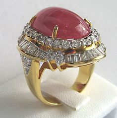 Philip Well Ruby Brilliant Ring 18.50 CT Yellow Gold 750 NEW Unique!