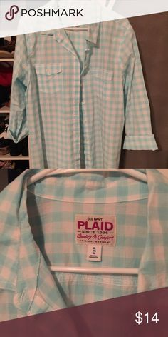 Old Navy Plaid Shirt XL Baby blue plaid shirt from Old Navy. Women's size  XL. Old Navy Tops Button Down Shirts