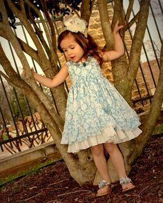 Girls Blue White Damask Dress Spring Summer by rosieposiegifts