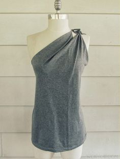 One shoulder t-shirt refashion. I would sew rather than tie.