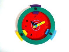 Memphis Design Wakita Wall Clock Red by UniKShop on Etsy
