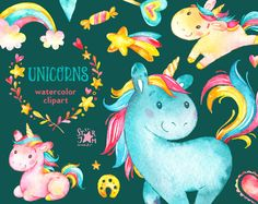 Unicorns. Watercolor clip art rainbow hearts flowers