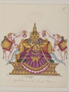 Lakshmi, in her form as Gaja Lakshmi, being lustrated by two white elephants. From a series of 100 drawings of Hindu deities created in South India.  Place of Origin  Trichinopoly, India   ca. 1820 - ca. 1825