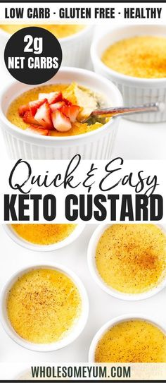 Easy Low Carb Keto Custard Recipe - A 5-ingredient vanilla keto custard recipe! Keto egg custard is super EASY. And, this low carb custard recipe is a perfect dessert for making ahead. #wholesomeyum #lowcarb #lowcarbrecipes #keto #ketorecipes #5ingredients #vanilla #custard #desserts