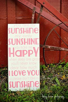 Childrens Wall Art, Girl Nursery Decor, Girl Nursery Art, Baby Girl Nursery Wall Art, Baby Girl Nursery, You are My Sunshine Sign. $45.00, via Etsy.
