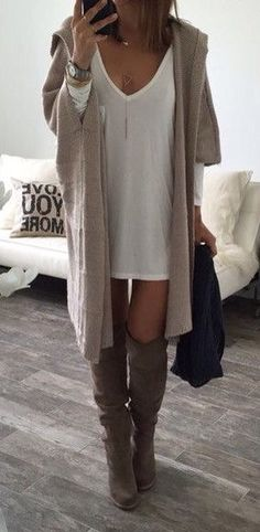 #spring #outfits Beige Maxi Cardigan + White Tank Dress + Suede OTK Boots