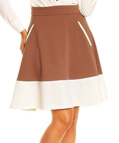 Take a look at this Cappuccino & White Color Block Flare Skirt on zulily today!