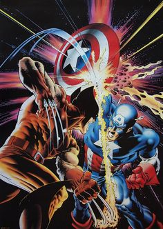Wolverine vs Captain America by Mike Zeck