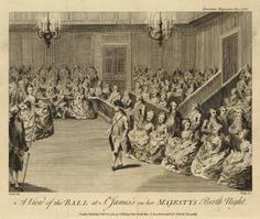 View of a ballroom with a couple stepping forward from the crowds around the edges of the room, overseen by a man with staff in the left foreground; after Daniel Dodd, illustration from the European Magazine.  1782 Engraving and etching