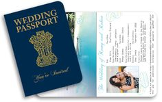 Indian Passport Invitation created for wedding in Goa - Beautiful pictures inside of the destination!