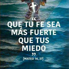 Pero en seguida Jesús les habló, diciendo: ¡Tened ánimo; yo soy, no temáis! Mateo 14:27