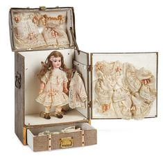 """Theriault's - 10"""" Case, with 8"""" Charming German Bisque Child in Original Presentation Case with Costumes"""