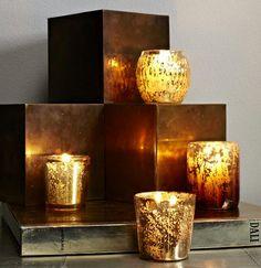 gold light - West Elm Gold Candle Holders, $9