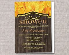 Rustic Yellow Daffodil and Wood Bridal Shower Invitations, printed or printable – Artistically Invited