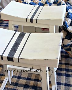 bar stools white painted over black, with black grainsack stripe via Savvy Southern Style