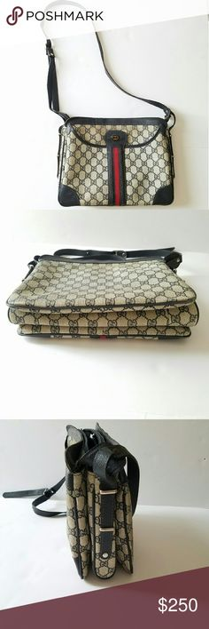OFFER! Gucci Vintage Crossbody Messenger bag Navy *Pre-loved Vintage Gucci Bag *Gray with Navy Leather Trim *Red Cloth Signature Striped *1 exterior snap close pocket *Navy Leather Trim *expandable   *Please feel free to ask questions or make offers Gucci Bags Crossbody Bags
