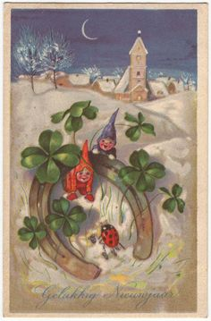 Hey, I found this really awesome Etsy listing at https://www.etsy.com/listing/195290637/german-postcard-gnomes-ladybug-horseshoe