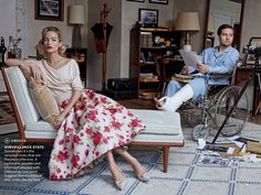 Carolyn Murphy and Tobey Maguire photographed by Peter Lindbergh, Window Dressing a remake of Rear Window, Vogue US, April 2013