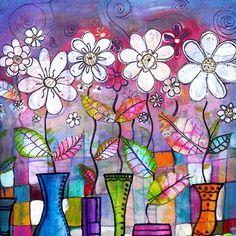 Dance into the Light 8 x 8 flowers still life by RobinMeadDesigns, $20.00