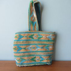 Teal and Burlap Mexican Hand Woven Bag 1970s FUN - $19.00