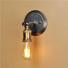 Brass Edison Socket Pewter Plate Wall Sconce