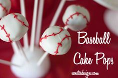 Baseball Cake Pops- a fun way to celebrate with your favorite player! #baseball #cakepop #party
