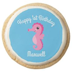 Under the Sea Horse Birthday Shortbread CookiesA selection of products for the home with a seaside theme. Shortbread Cookies, Oreo Cookies, Sea Aquarium, Seaside Theme, Horse Birthday, Happy 1st Birthdays, Beverage Packaging, Cookies Ingredients, Animal Party