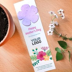A branded bookmark with a flower to plant and grow. Paper Flowers, Wild Flowers, Mother's Day Promotion, Seed Paper, Green Business, Eco Friendly Paper, Flower Shape, Cute Cards, Happy Mothers Day