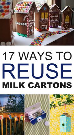 Empty milk cartons are handy for a variety of craft projects and uses around the home. crafts diy milk 17 Creative Ways to Reuse Milk Cartons Recycling For Kids, Diy For Kids, Crafts For Kids, Upcycled Crafts, Diy Crafts, Retro Crafts, Projects For Kids, Craft Projects, Milk Carton Crafts