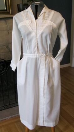 vintage 1940s WWII NURSE fitted uniform White Dacron Polyester Dress by White Swan Sz 8. $99.00, via Etsy.