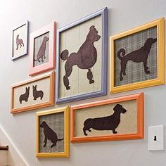 Capture your favorite pooches in silhouette form. Print and cut out pictures of dogs you love. Use your cutouts as templates for cutting shapes from wool felt. Adhere the silhouettes to wool fabric pieces using iron-on fusible webbing. Experiment with houndstooth, plaid, or solid backgrounds.