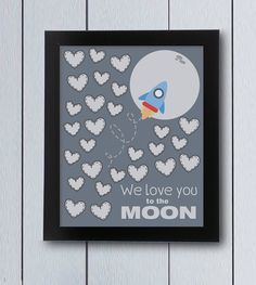 Love you to the moon Baby Shower Guestbook birthday by RockNPrint