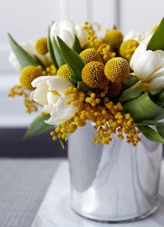 Floral Arrangement ~ golden yellow, white, green