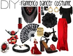 A fashion look from October 2012 featuring Alice by Temperley blouses, Yves Saint Laurent skirts and Chie Mihara sandals. Browse and shop related looks. Flamenco Party, Flamenco Costume, Flamenco Dancers, Flamenco Dresses, Spanish Party, Spanish Style, Spain Theme Party, Spanish Dancer Costume, Diy Costumes
