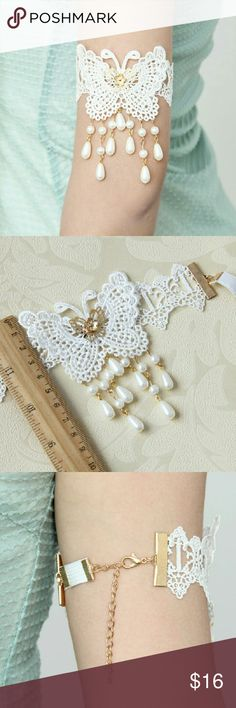 White Lace Upper Armband Arm Tie Bracelet aw8 This gorgeous handmade upper arm bracelet will add a unique treasure to your closet! Handmade Jewelry